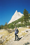 Rock Climbing Photo: Jerry Wingenter on approach to Cathedral Peak Toul...