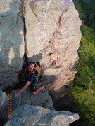 Rock Climbing Photo: Jon J. finishing lead of Reclining Tower West Bluf...