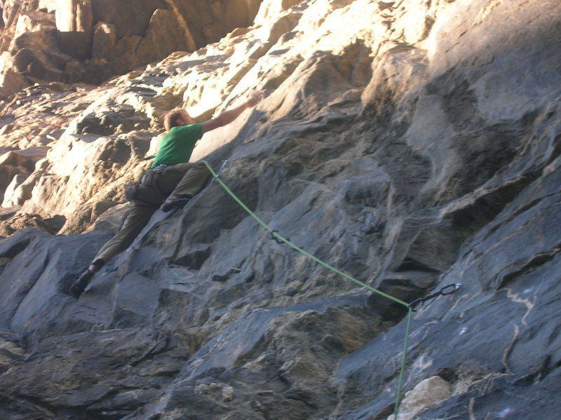 Rock Climbing Photo: Me at the crux on the FA.