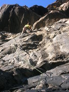 Rock Climbing Photo: Mike near the anchor on the FA.