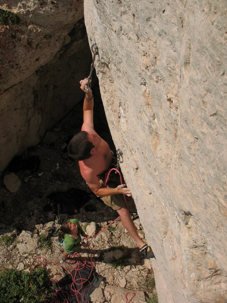 Rock Climbing Photo: Angus Bohanon stabs yet another pocket. Photo by T...