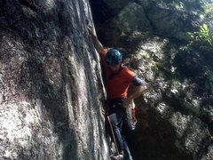 Rock Climbing Photo: Alan on Old Stud.  Taken with my Blackberry so not...