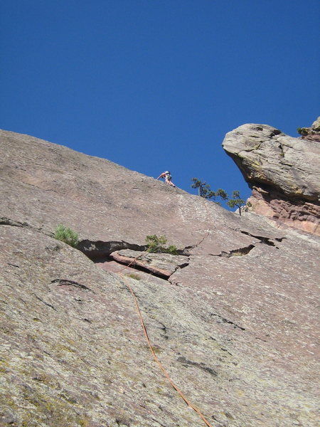 Rock Climbing Photo: On the upper part of P2 of Smooth, about to reach ...