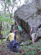 Rock Climbing Photo: Ryan Langlois on the crux cross through.