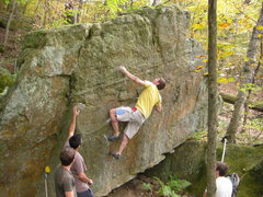Rock Climbing Photo: Dobbe setting up to throw.