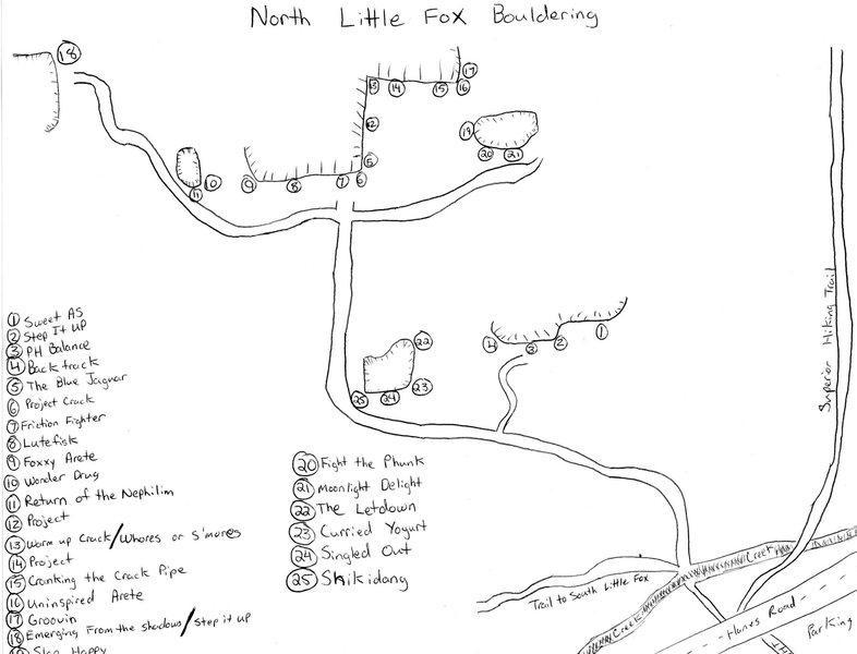 North Little Fox Bouldering Topo