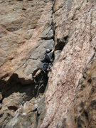 Rock Climbing Photo: Danny on the overhanging 5.10 corner pitch on the ...