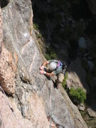 Rock Climbing Photo: DI making the initial moves on to the ramp of the ...