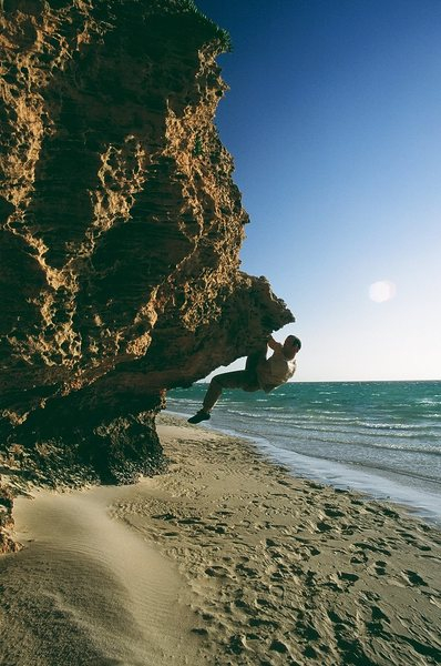 Bouldering on the Ningaloo Reef.