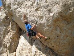 "Rock Climbing Photo: The crux stab of ""Last Man Standing""."