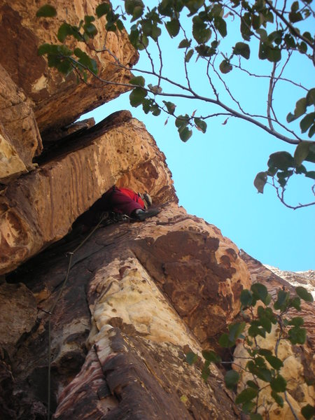 Rock Climbing Photo: Larry in the pitch 2 chimney