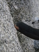 Rock Climbing Photo: Hoskins working the slab moves before getting to t...