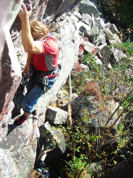 Rock Climbing Photo: Above the mantle move and in the upper groove of t...