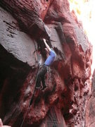 I cut up my hands real good on this route. Photo by Lynn Sonnabend
