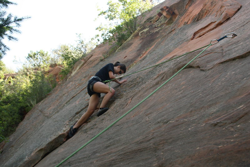 Samantha on her first real rock climb! It didn't turn out well for her leg!