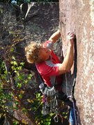 Rock Climbing Photo: Placing gear on the lead below the crux on Mongo F...