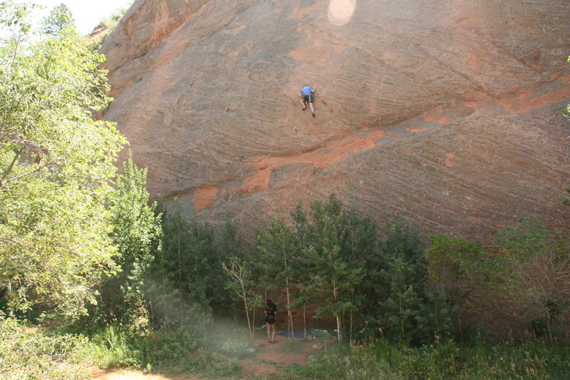 Samantha on her first belay assignment while i am leading a climb at Red Rocks. Very nerve racking to have a first time belayer!