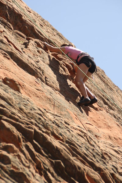 Samantha on another climb at Red Rocks.