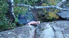 "Rock Climbing Photo: Mat Sahli working ""The Powers That Be."""