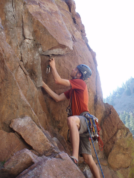 Rock Climbing Photo: Carl placing the first piece on the start of Wind ...