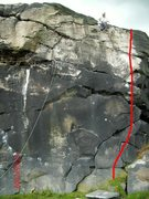 Rock Climbing Photo: Red line is black wall direct. watch out for cow p...