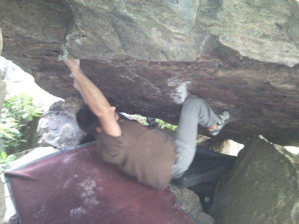 Rock Climbing Photo: Gabe matching hands. crux!!
