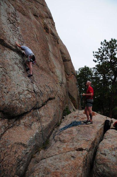 Rock Climbing Photo: Leading Chicken Shit (5.7)