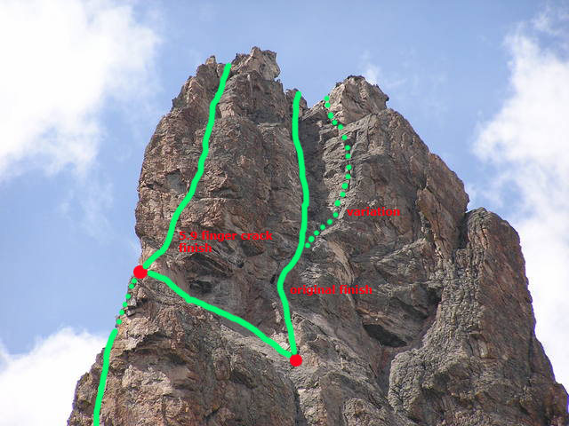 Two variations for finishing the South Ridge. Ivan has close up pictures of the 5.9 finger crack on the left face.