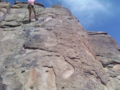 Rock Climbing Photo: The Knob route heads up the Arete.