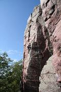 Rock Climbing Photo: Rhoads on lead. Perfect fall day!