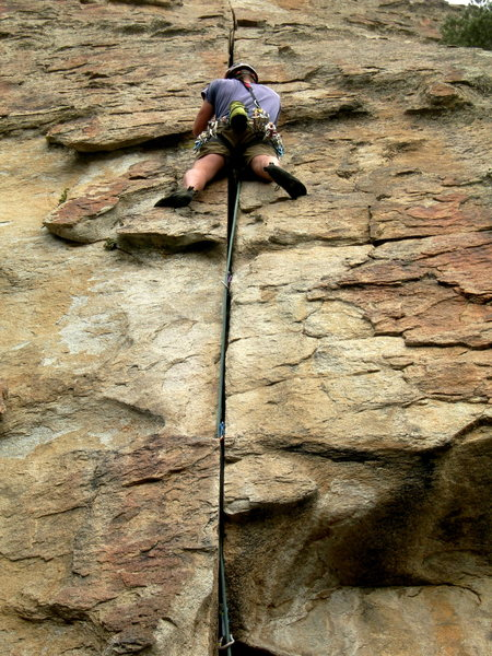 Rock Climbing Photo: Justin passing the tricky roof and moving into the...