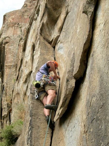Rock Climbing Photo: Justin in the tricky roof section...watch out for ...