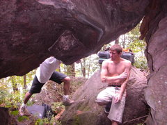 Rock Climbing Photo: Dobbe checking out his new found line.