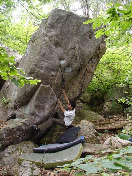 Rock Climbing Photo: R.V. on The Ejaculator.
