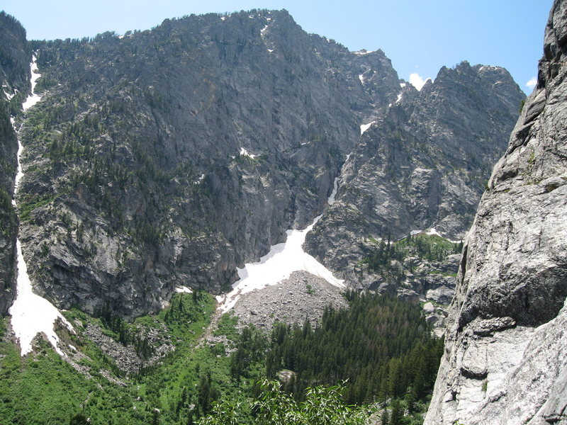 The North East Face of Prospectors Mountain, otherwise known as the south side of Death Canyon. Apocalypse Couloir rises above the talus field and trends right. Raven Crack ascends directly above, and Predator and The Alien Wall are in the middle of the face.