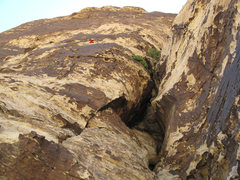 Rock Climbing Photo: Pitch 6 ends on the face after the leftward traver...