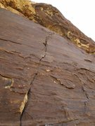 Rock Climbing Photo: Pitch 10: a crack leads to a roof. This is the cru...