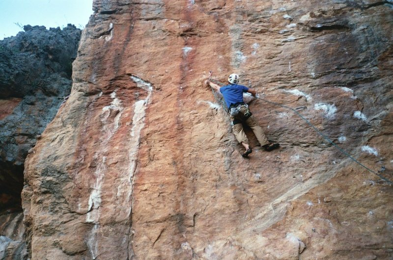 Rock Climbing Photo: Making the clip before traversing left to the aret...