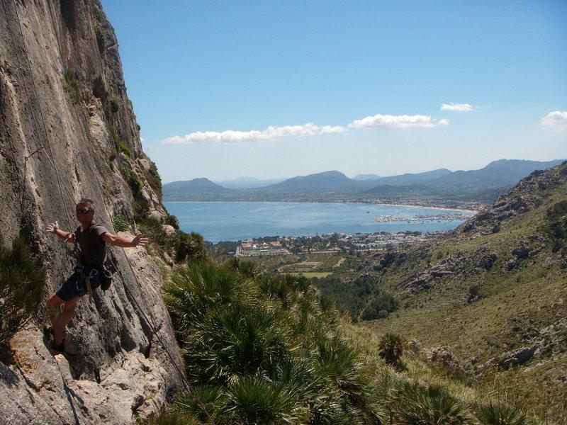 Rock Climbing Photo: Sa Creueta, Sector Dreta with Porto de Pollenca in...