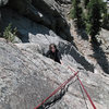 P1 of a 175', two pitch 10c sport climb in southern Boulder County. September 2009.