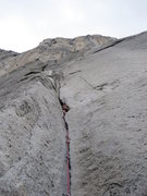 Rock Climbing Photo: La Costia Right 5.8 at the base of El Cap
