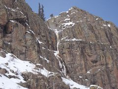 Rock Climbing Photo: Looking up the approach at the route prior to the ...