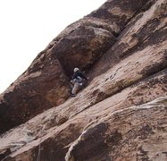 Rock Climbing Photo: A snow flurry on the second pitch.