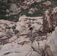 Rock Climbing Photo: Approaching the first big ledge on Strawberry Hill...