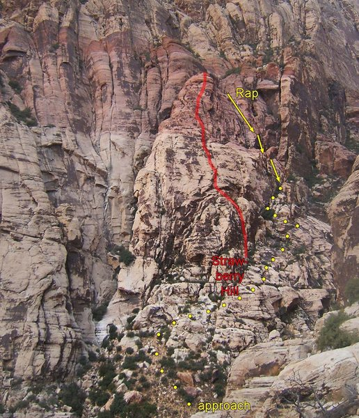 Rock Climbing Photo: The line of Strawberry Hill.