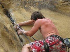Rock Climbing Photo: Leading Sculptures Crack