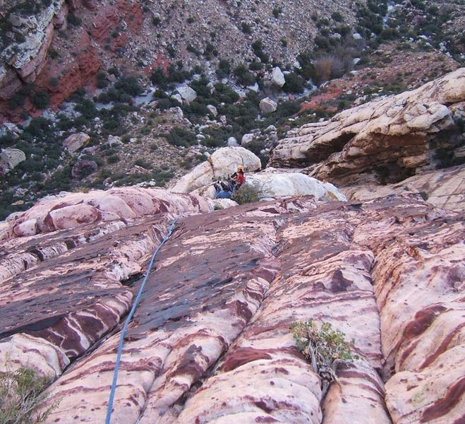 Rock Climbing Photo: On the upper slab pitches of Berry Nice.