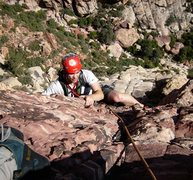 Rock Climbing Photo: Coming over the headwall to the second belay.