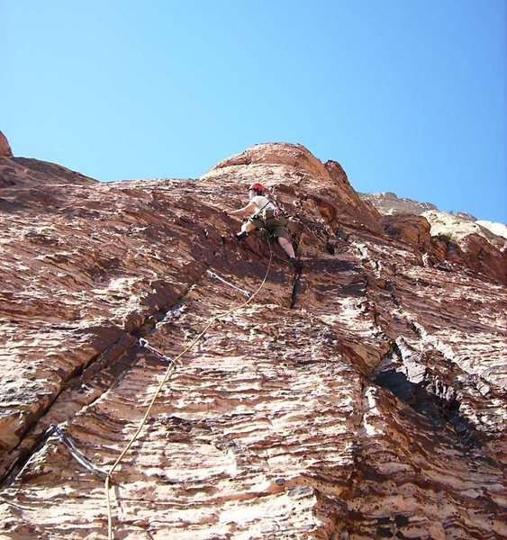 The beginning of the third pitch features more relaxed climbing.