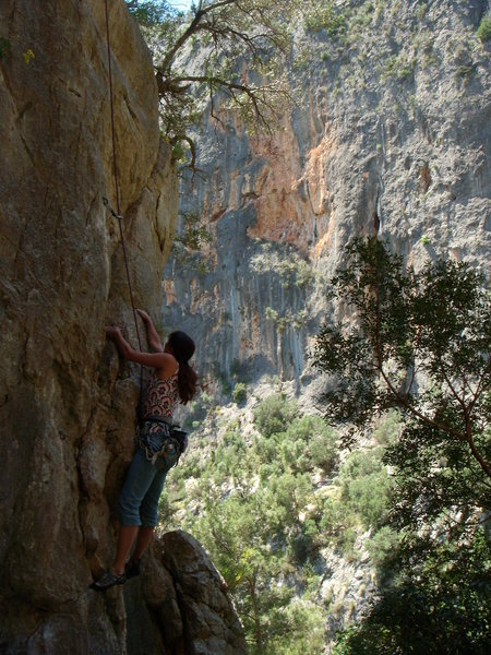 Rock Climbing Photo: Climbing the first pitch of Isla Bonita; 11a,10a, ...